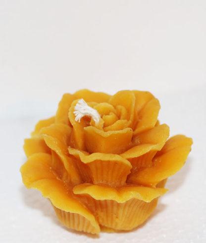 Bougie cire d'abeille petite rose